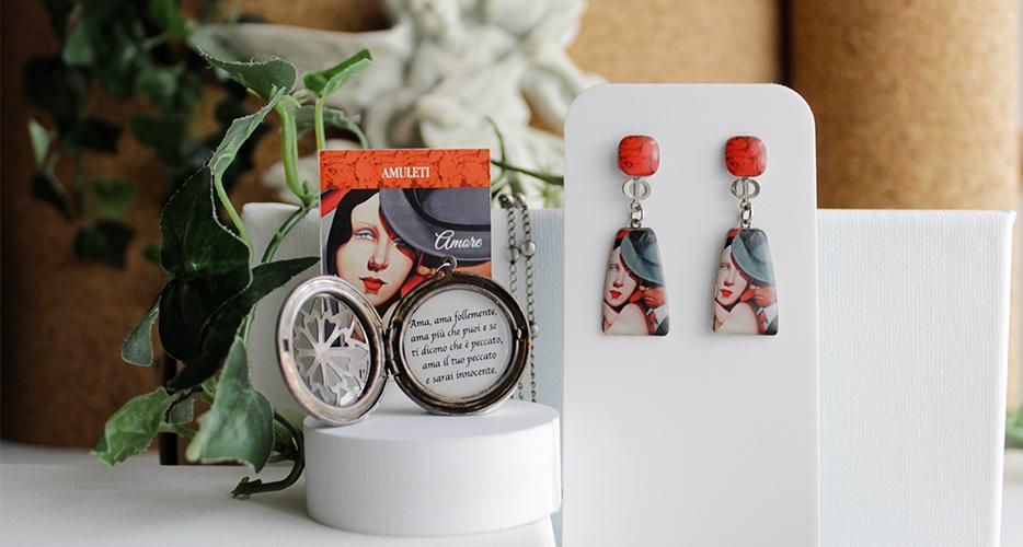 Orecchini amuleto amore Resina Bella bri. © Copyright Bella bri. Tutti i diritti sono riservati.